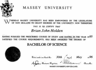 Bachelor of Science Degree - Massey University
